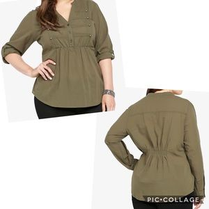 Torrid Mandarin Collar Military Top Roll Tab Olive